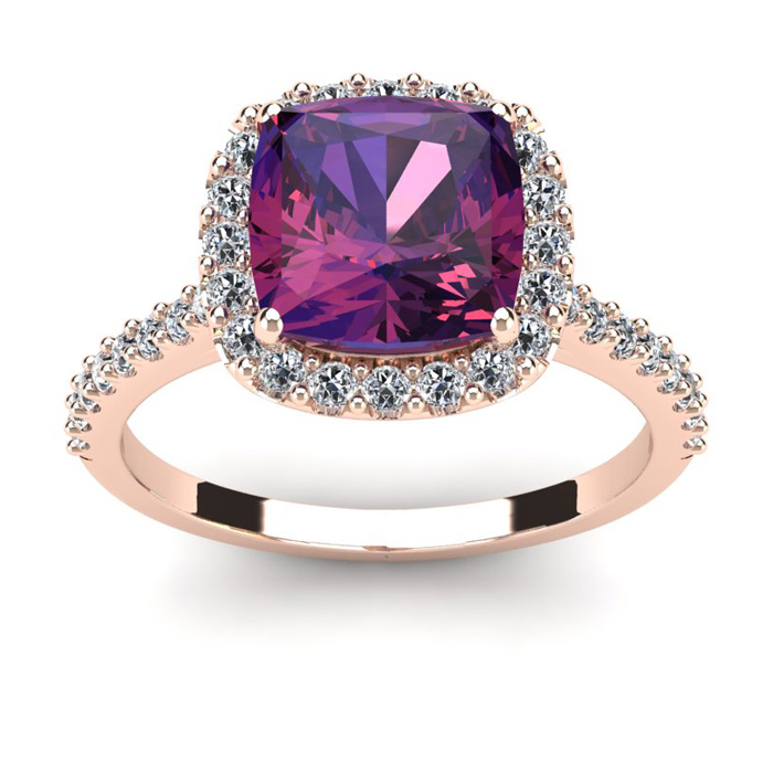 2 1/2 Carat Cushion Cut Amethyst and Halo Diamond Ring In 14K Rose Gold