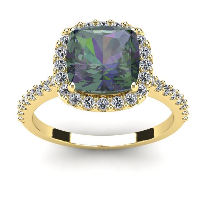 2 1/2 Carat Cushion Cut Mystic Topaz and Halo Diamond Ring In 14K Yellow Gold