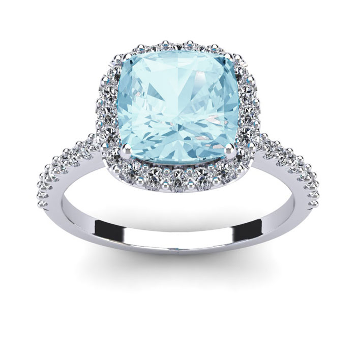2 1/2 Carat Cushion Cut Aquamarine and Halo Diamond Ring In 14K White Gold