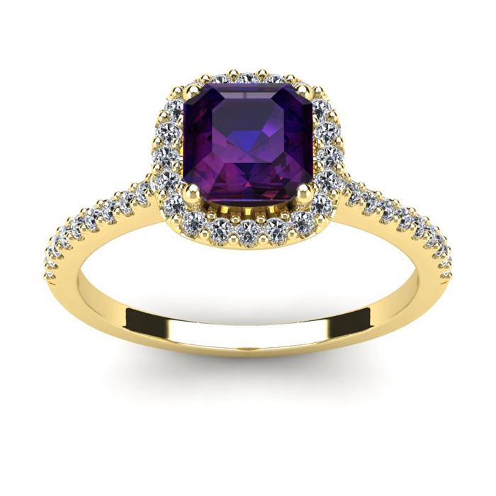 1 Carat Cushion Cut Amethyst and Halo Diamond Ring In 14K Yellow Gold