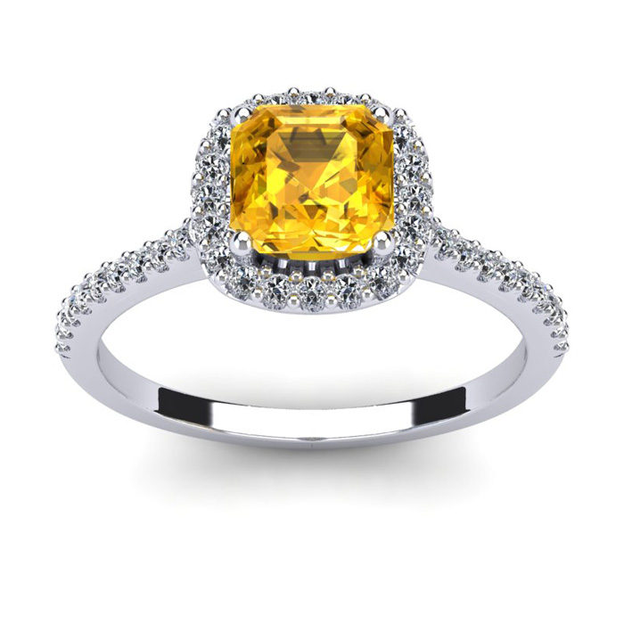 1 Carat Cushion Cut Citrine and Halo Diamond Ring In 14K White Gold