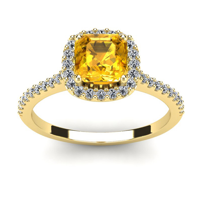 1 Carat Cushion Cut Citrine and Halo Diamond Ring In 14K Yellow Gold