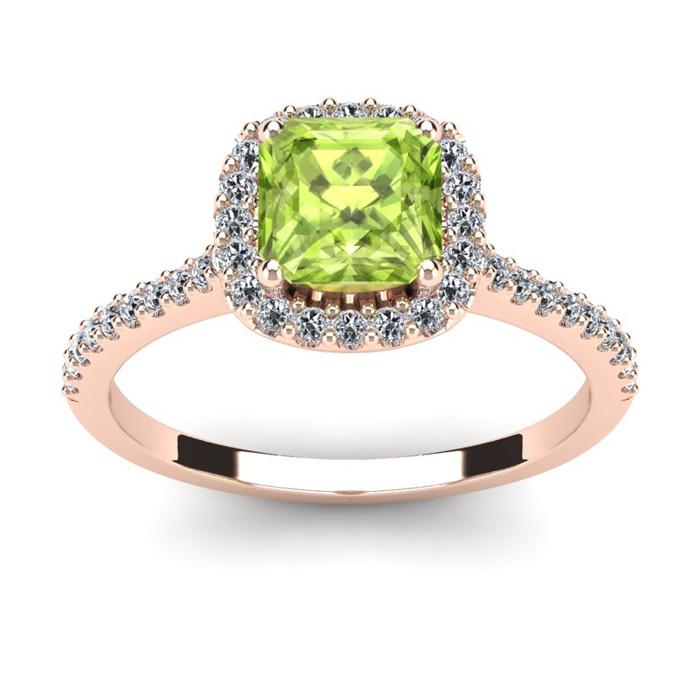 1 1/2 Carat Cushion Cut Peridot and Halo Diamond Ring In 14K Rose Gold