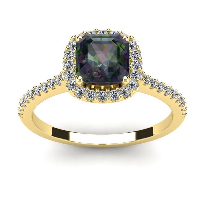 1 1/2 Carat Cushion Cut Mystic Topaz and Halo Diamond Ring In 14K Yellow Gold