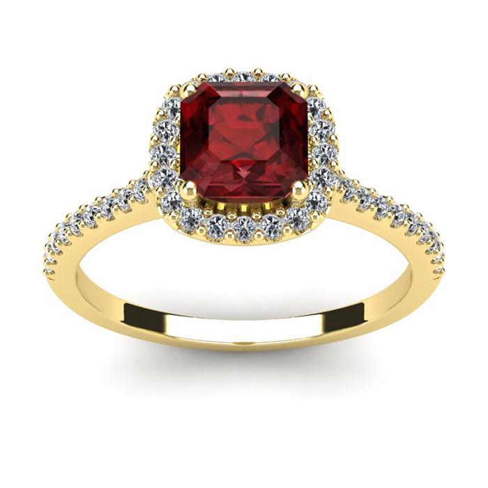 1 1/2 Carat Cushion Cut Garnet and Halo Diamond Ring In 14K Yellow Gold