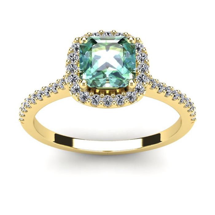 1 Carat Cushion Cut Green Amethyst and Halo Diamond Ring In 14K Yellow Gold