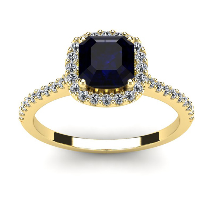 1 1/2 Carat Cushion Cut Sapphire and Halo Diamond Ring In 14K Yellow Gold
