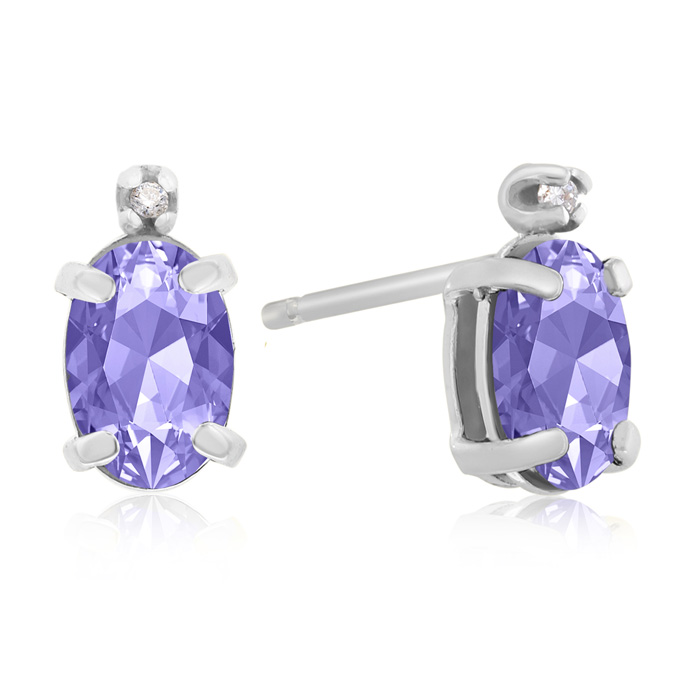 1 1/4ct Oval Tanzanite and Diamond Earrings in 14k White Gold