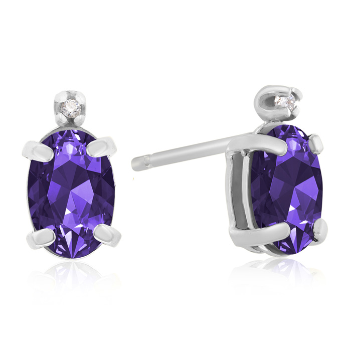 1 1/4ct Oval Amethyst and Diamond Earrings in 14k White Gold