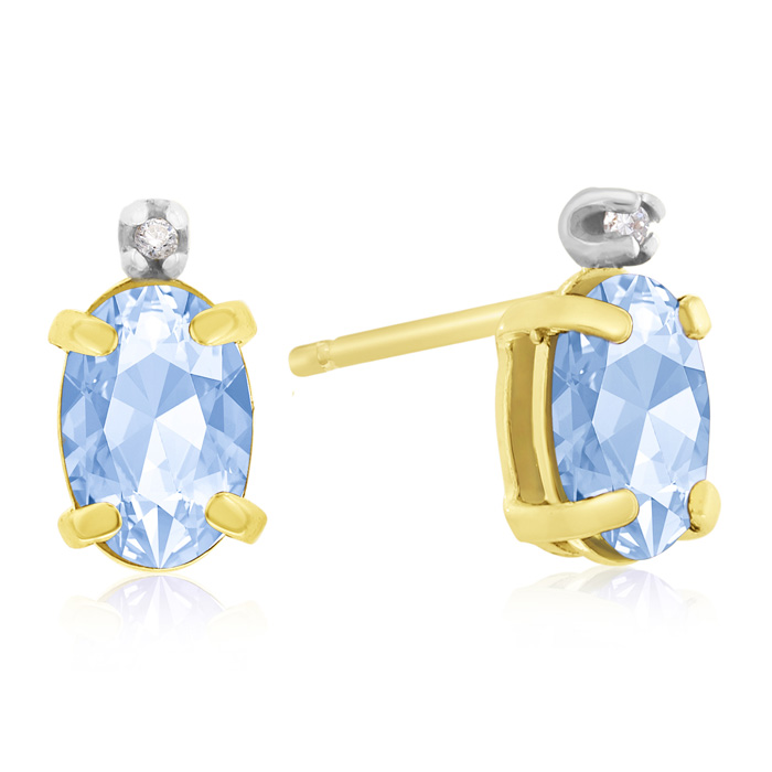 1 1/4ct Oval Blue Topaz and Diamond Earrings in 14k Yellow Gold