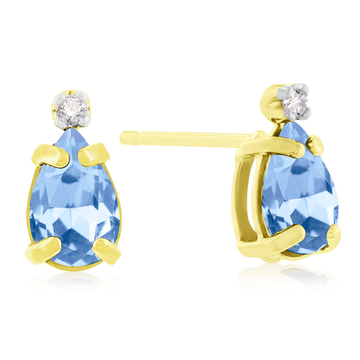 1ct Pear Shaped Blue Topaz and Diamond Earrings in 14k Yellow Gold