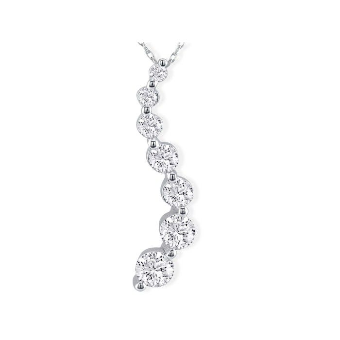 2ct Diamond Journey Necklace in 18k White Gold