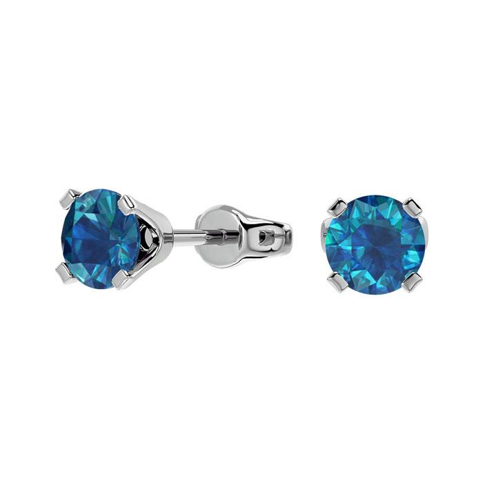 1/2ct Blue Diamond Stud Earrings in 14k White Gold