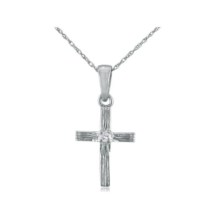 Diamond Cross Pendant in 10k White Gold, 18 Inch Necklace