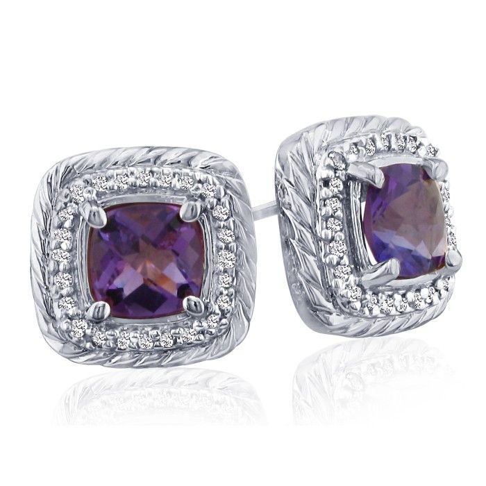 Rope Design Amethyst and Diamond Earrings in 14k White Gold