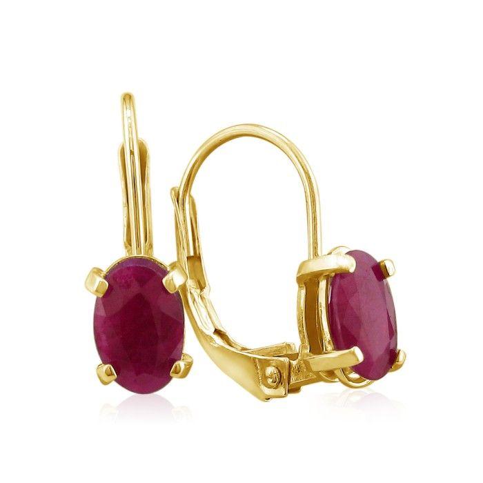 1 1/4ct Leverback Oval Ruby Earrings in 14k Yellow Gold