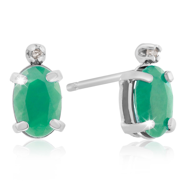 1ct Oval Emerald and Diamond Earrings in 14k White Gold