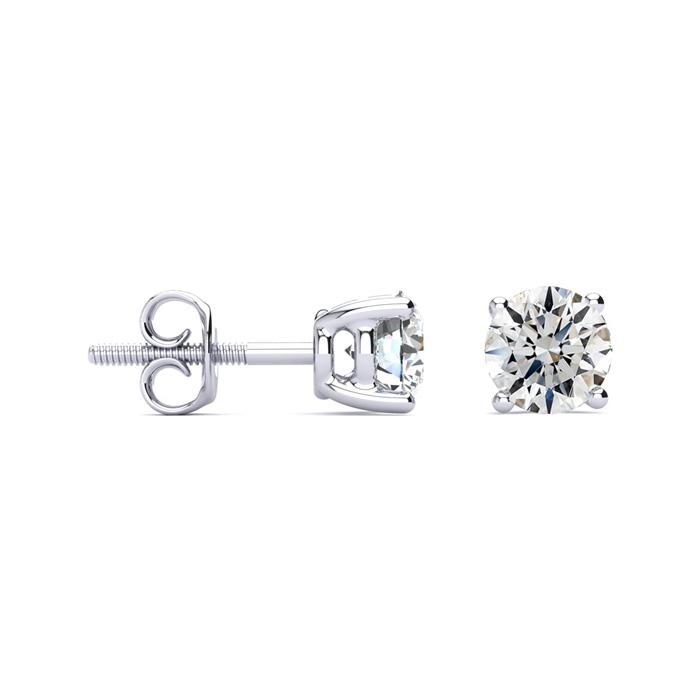 1 1/2ct Diamond Stud Earrings in 14k White Gold, G/H, SI2/SI3