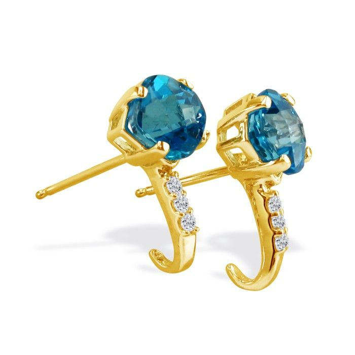 2ct Square Cut Blue Topaz and Diamond Earrings in 14k Yellow Gold