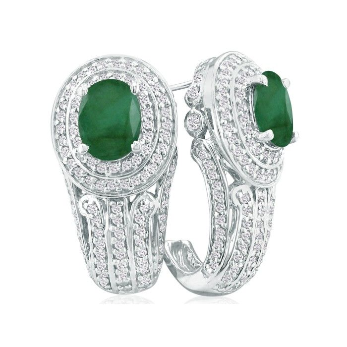 Bold 3 3/4ct Emerald and Diamond Earrings in 14k White Gold