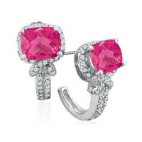 Diamond Earrings: Pink Topaz And Diamond Earrings