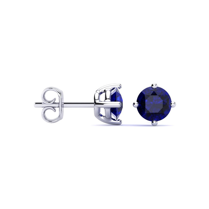 1/2ct Natural Sapphire Stud Earrings in Sterling Silver - September Birthstone!
