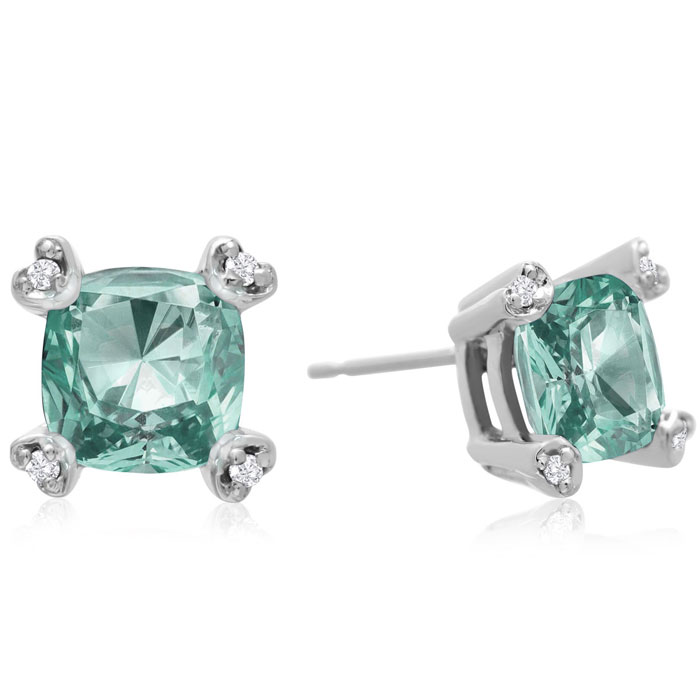 2ct Cushion Green Amethyst and Diamond Earrings in 10k White Gold