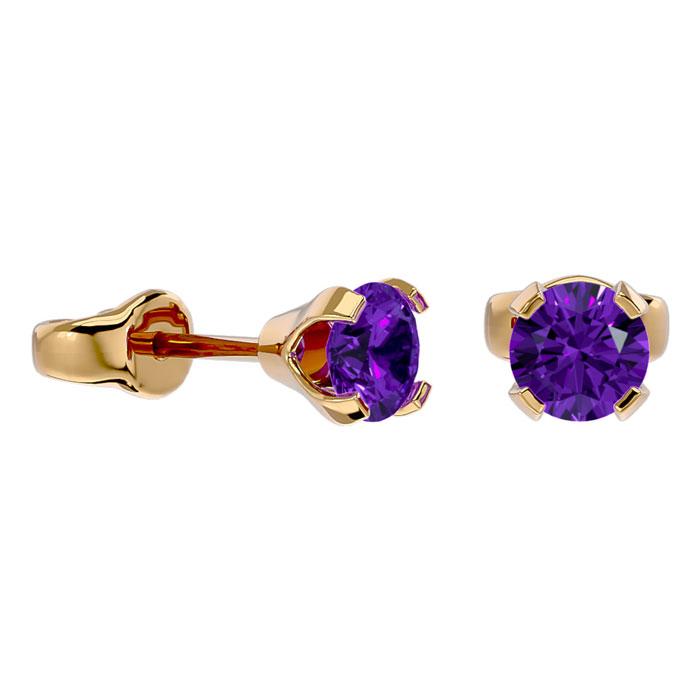 .50ct Amethyst Stud Earrings in 14k Yellow Gold