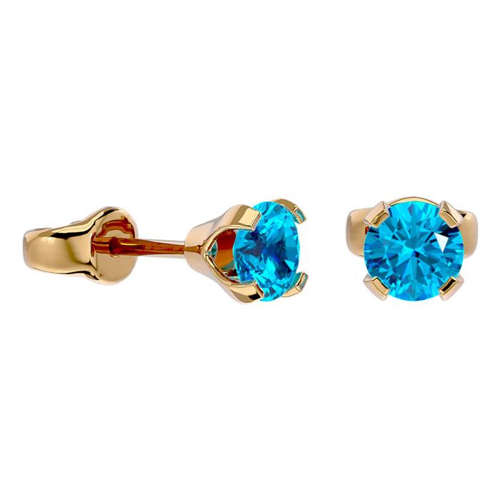 .60ct Blue Topaz Stud Earrings in 14k Yellow Gold
