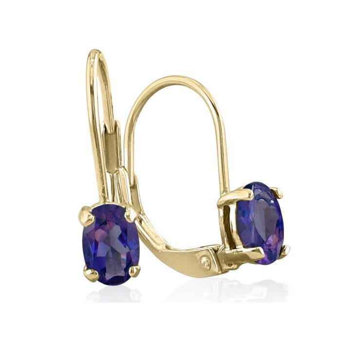 1ct Oval Amethyst Solitaire Leverback Earrings in 14k Yellow Gold