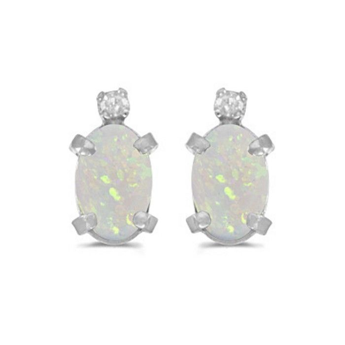 1/2ct Oval Opal And .02ct Diamond Earrings in 14k White Gold