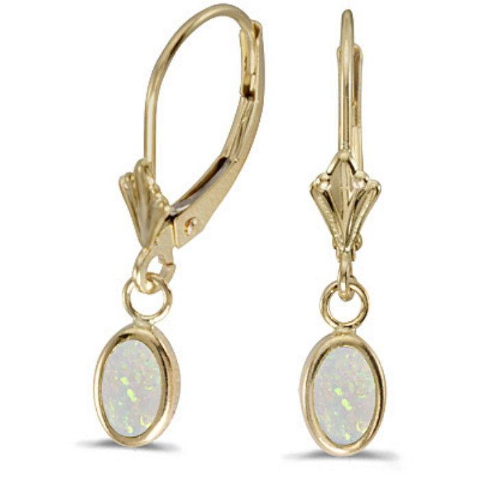 1/2ct Bezel Set Oval Opal Leverback Earrings in 14k Yellow Gold