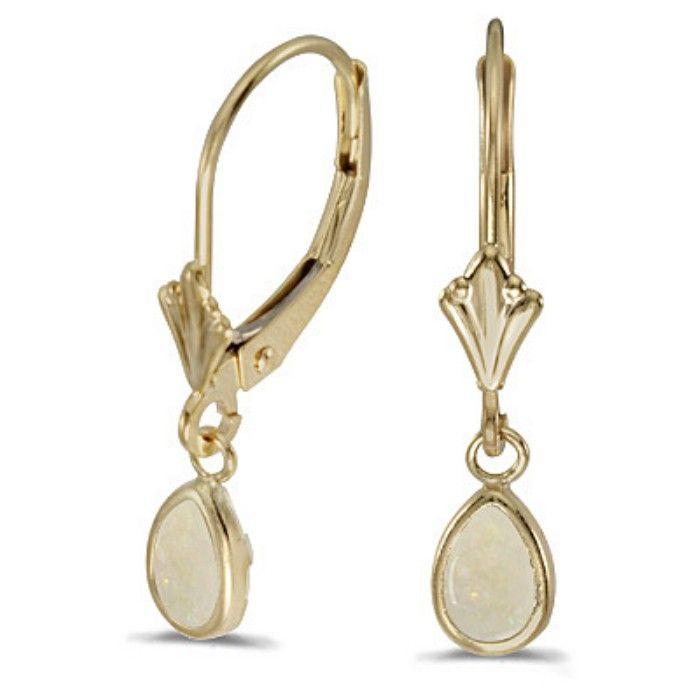 .44ct Bezel Set Pear Opal Leverback Earrings in 14k Yellow Gold