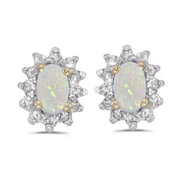 1/3ct Starburst Oval Opal And Diamond Earrings in 14k Yellow Gold