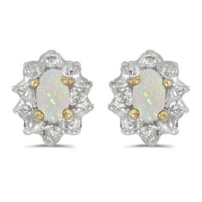 1ct Oval Opal And Diamond Earrings in 14k Yellow Gold