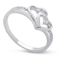 .05ct Double Heart Diamond Promise Ring in Sterling Silver ...