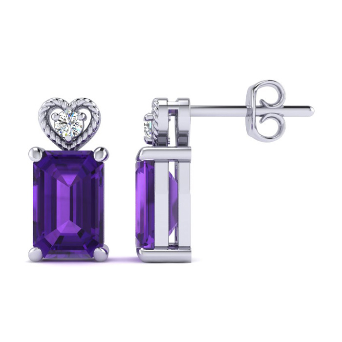 1ct Amethyst and Diamond Earrings in 10k White Gold