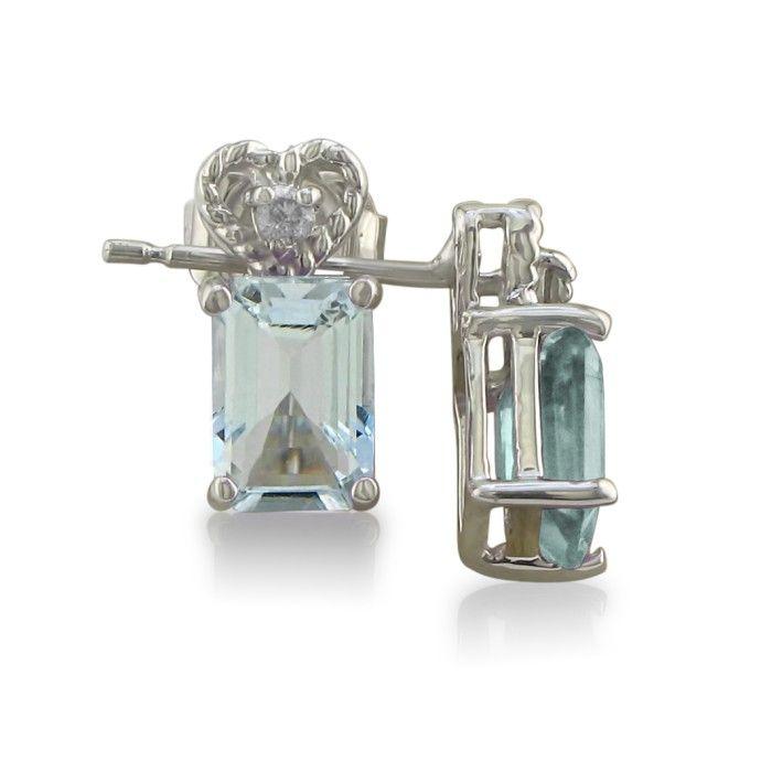 1ct Aquamarine and Diamond Earrings in 10k White Gold
