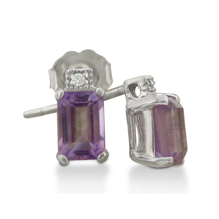 1.5ct Amethyst and Diamond Earrings