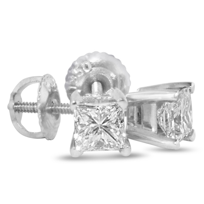 1 1/2ct Princess Diamond Stud Earrings, 14k White Gold, G/H, SI