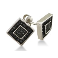 1/4ct Black Diamond Square Stud Earrings in Sterling ...