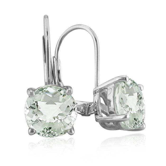 5ct Green Amethyst Drop Earrings
