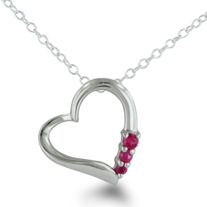 Three Stone Ruby Heart Necklace