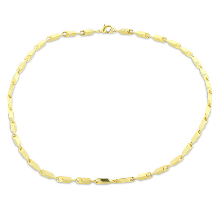 24 Karat Yellow Gold Overlay Link Chain Necklace. 18 Inches Long