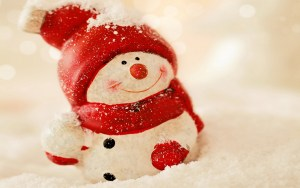 happy-cute-snowman-with-red-hat-standing-in-white-snow