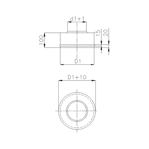 Nerezové horní ukončení, pro systémy s izolací 50 mm