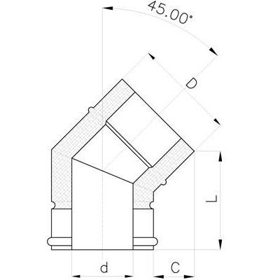 Komínové koleno 45°, izolace 30 mm