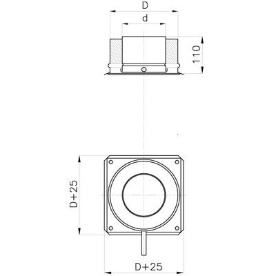 Komínová kotvící deska s kond. jímkou, izolace 30 mm