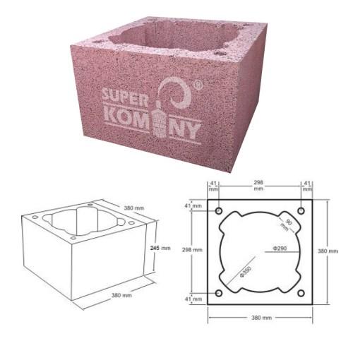 Nákres - Komínová tvárnice jednoprůduchová, 380 x 380 mm, výška 245 mm