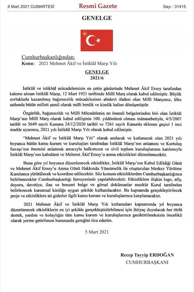 baskan erdogan imzaladi 2021 mehmet akif ve istiklal marsi yili olarak kabul edildi 0 - Başkan Erdoğan imzaladı! 2021 'Mehmet Akif ve İstiklal Marşı yılı' olarak kabul edildi